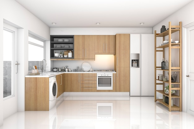 3d teruggevende houten moderne wasserijruimte en keuken Premium Foto