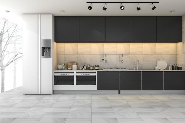 3d teruggevende minimale zwarte keuken in de winter Premium Foto