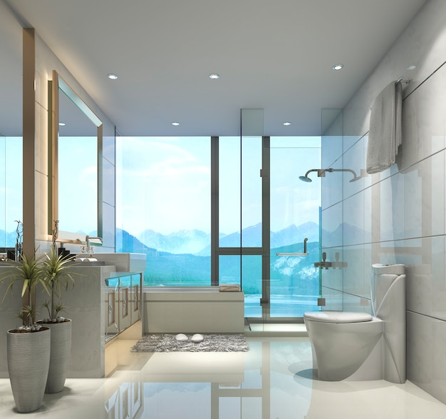 3d teruggevende moderne klassieke badkamers met het decor van de luxetegel met aardige aardmening van venster Premium Foto