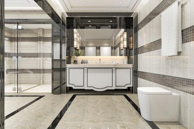 3d teruggevende moderne zolderbadkamers met het decor van de luxetegel Premium Foto
