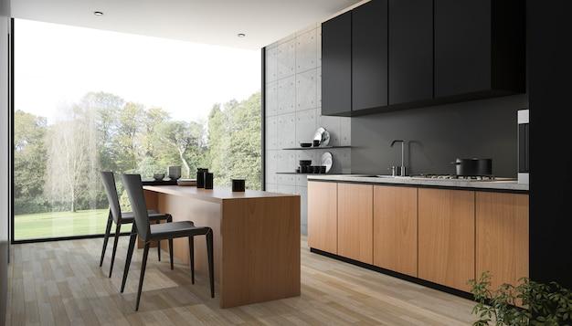 3d teruggevende moderne zwarte keuken met ingebouwd hout Premium Foto