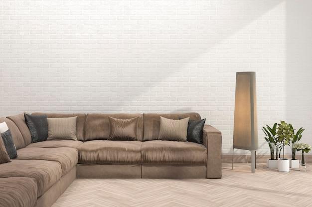 3d teruggevende retro bruine bank in minimale woonkamer met bakstenen muur Premium Foto