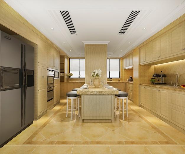 3d teruggevende skandinavische uitstekende moderne keuken met het dineren gebied Premium Foto