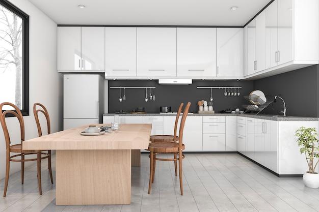 3d teruggevende zwart-witte moderne keuken dichtbij venster Premium Foto