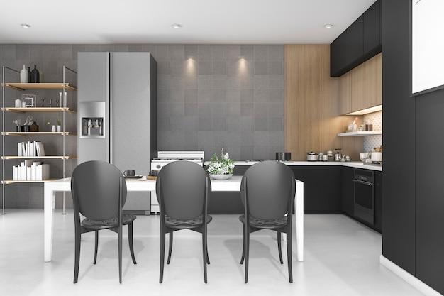 3d teruggevende zwarte decorkeuken met houten ontwerp Premium Foto