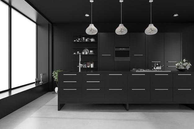 3d teruggevende zwarte moderne luxekeuken Premium Foto