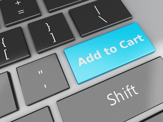 3d toetsenbord met toevoegen aan winkelmandje knop Premium Foto