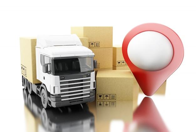 3d truck met kartonnen dozen. Premium Foto