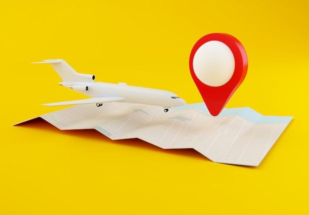 3d vliegtuig met wereldkaart Premium Foto