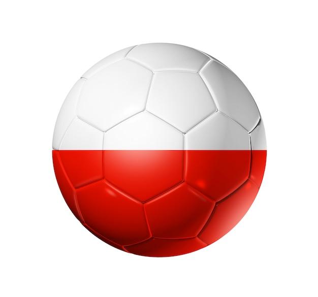 3d-voetbal met polen team vlag. geïsoleerd Premium Foto