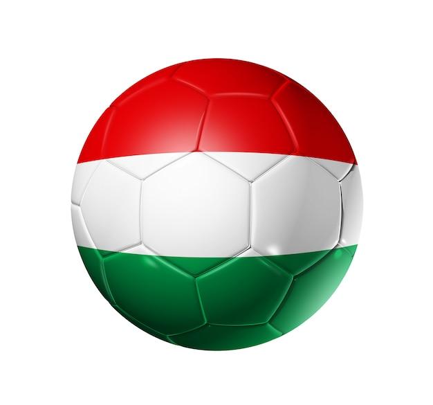 3d voetbalbal met het teamvlag van hongarije Premium Foto