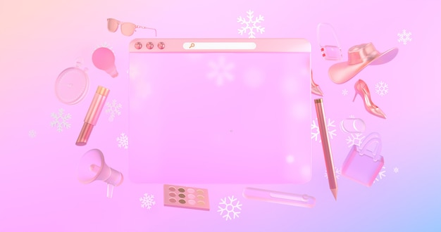 3d-websitepictogrammen en 3d-winkelobjecten hebben sneeuwpictogrammen op de achterkant. Premium Foto