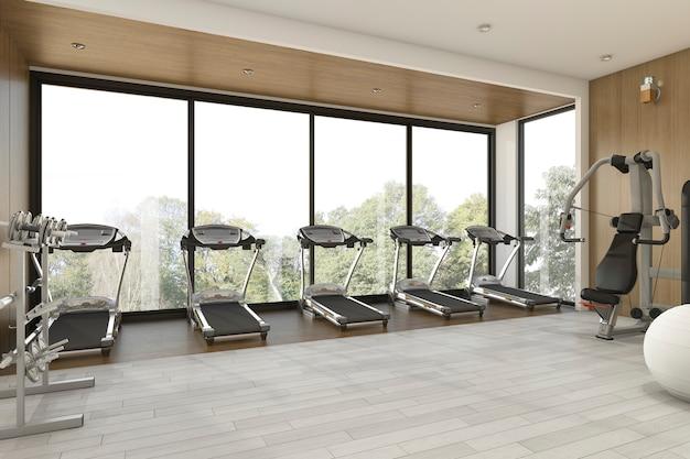 3d-weergave mooie tuin weergave houten sportschool en fitness Premium Foto