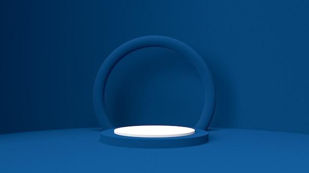 3d-weergave object mockup, abstracte vorm en geometrie in blauwe rode en witte kleur. Premium Foto