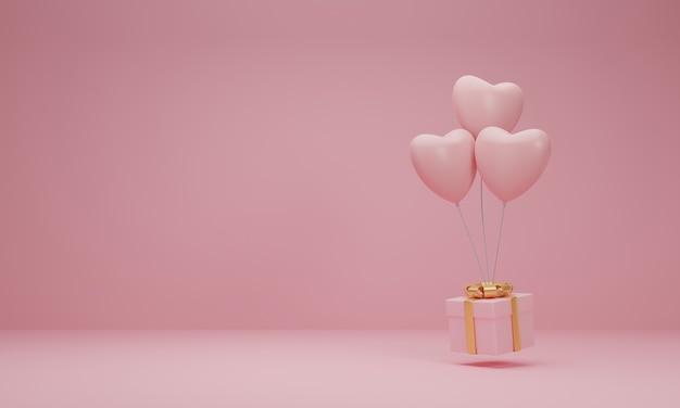 3d-weergave. roze geschenkdoos met gouden lint en ballonhart op pastel roze achtergrond. minimaal concept. Premium Foto