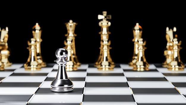 3d-weergave. schaakbordspel voor leadership concepts. Premium Foto