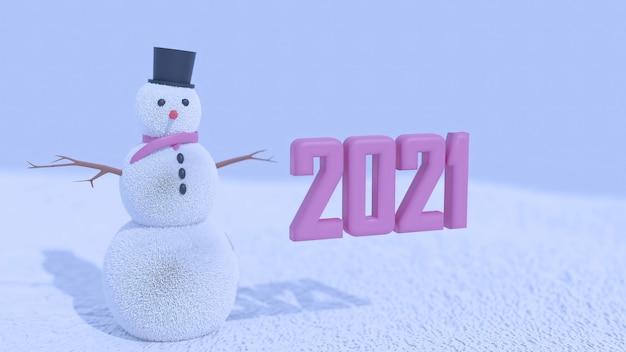 3d-weergave van 2021 en een sneeuwpop premium foto Premium Foto