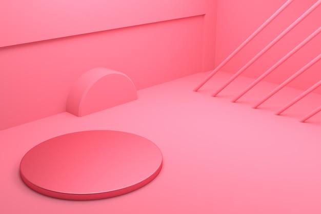 3d-weergave van abstract minimaal concept achtergrond geometrie vorm leeg podium Premium Foto