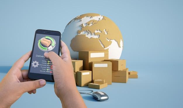 3d-weergave van app-pakketten voor het volgen van de levering van smartphones Premium Foto