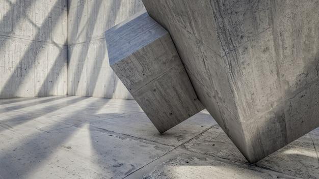 3d-weergave van concrete kubieke visualisatie Premium Foto