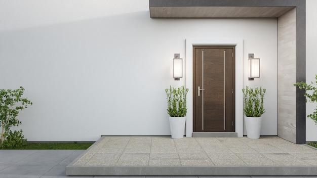 3d-weergave van de ingang van een modern huis Premium Foto