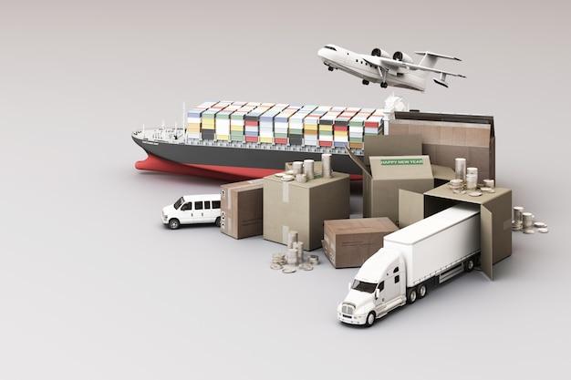 3d-weergave van de kratdoos omringd door kartonnen dozen, een vrachtcontainerschip, een vliegplan, een auto, een busje en een vrachtwagen Premium Foto