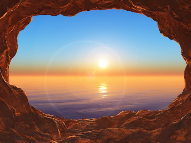 3d-weergave van een grot met uitzicht op een zonsondergang oceaan Gratis Foto