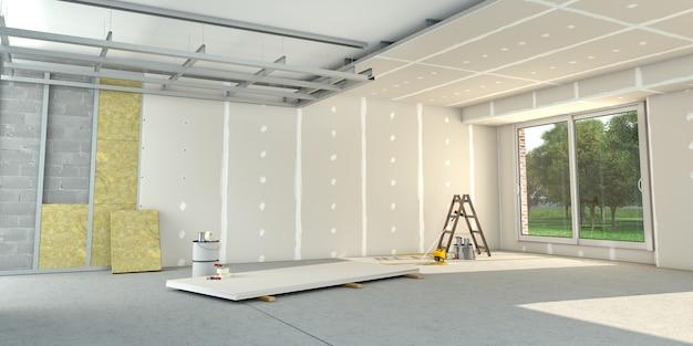 3d-weergave van een huis interieur onder renovatie Premium Foto