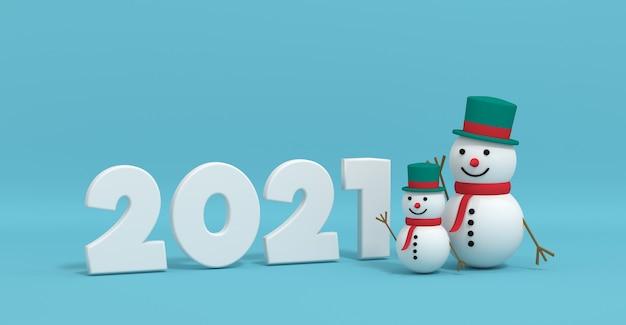 3d-weergave van een kerstmissneeuwman in de buurt van de inscriptie 2021 Premium Foto