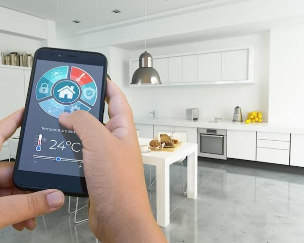 3d-weergave van een modern interieur bestuurd door een smartphone-app Premium Foto