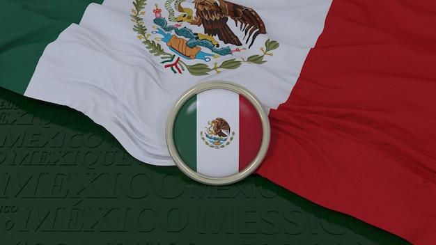 3d-weergave van een nationale vlag van mexico en een glanzende knop op groene achtergrond Premium Foto