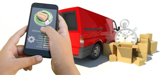 3d-weergave van een smartphone-app voor het volgen van bezorging met vrachtwagens en goederen Premium Foto