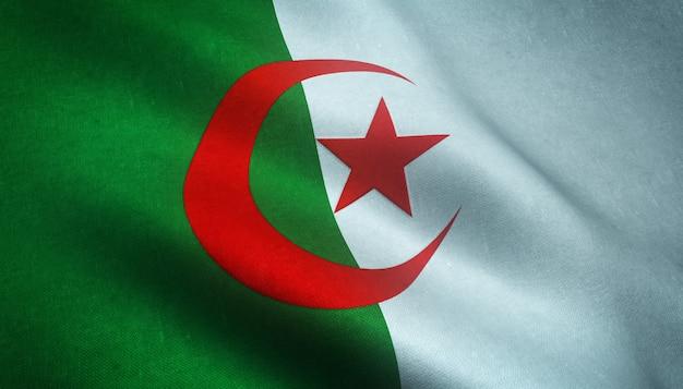 3d-weergave van een wapperende vlag van algerije met grungy texturen Gratis Foto