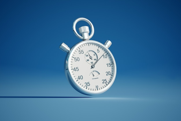 3d-weergave van een zilveren stopwatch op een gekleurde achtergrond Premium Foto