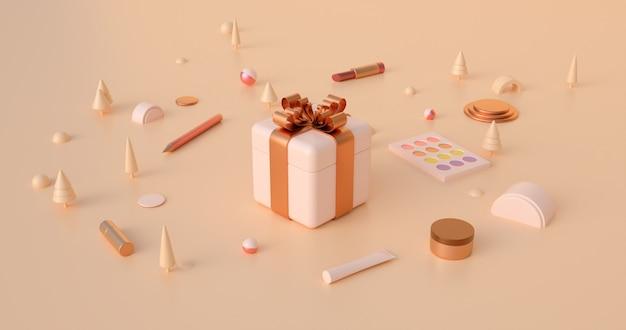 3d-weergave van geschenkdozen en abstracte kerstobjecten in aardetinten. Premium Foto