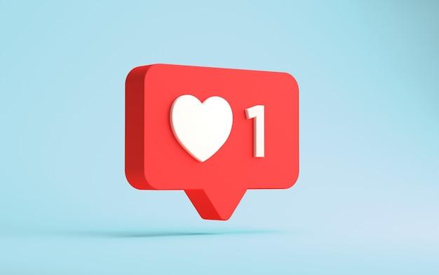 3d-weergave van instagram één zoals drijvende melding geïsoleerd op een blauwe muur Premium Foto