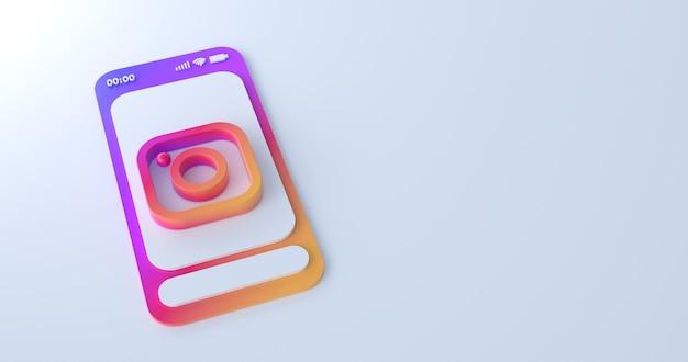 3d-weergave van instagram-pictogram. Premium Foto