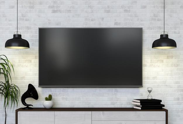 3d Weergave Van Interieur Moderne Woonkamer Met Smart Tv