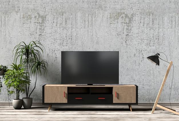Modern Gezellig Interieur : D weergave van interieur moderne woonkamer met smart tv kast