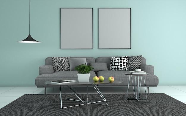 3d-weergave van interieur van moderne woonkamer met sofa - bank en tafel Premium Foto