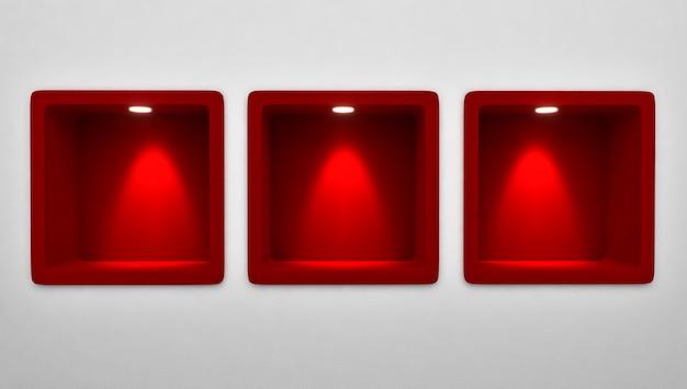 3d-weergave van lege 3 afgeronde rode niche plank display in de muur Premium Foto