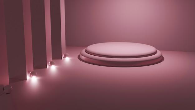3d-weergave van lichtroze platformmodel in een vierkante kamer Premium Foto