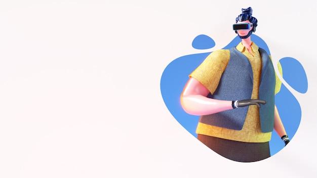3d-weergave van man karakter vr bril op abstracte achtergrond Premium Foto