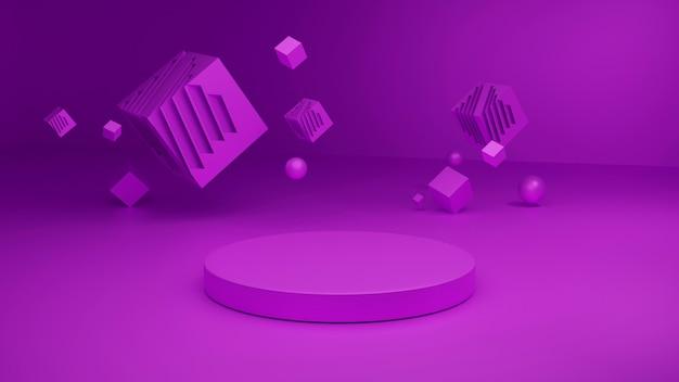 3d-weergave van morkup-platform, roze abstracte podium renderings. Premium Foto