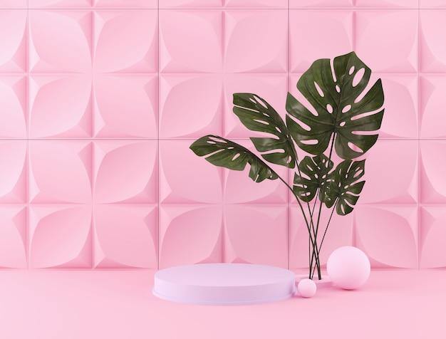 3d-weergave van pastel kleuren achtergrond met een ontwerp podium voor weergave in minimalistische stijl scène. Premium Foto