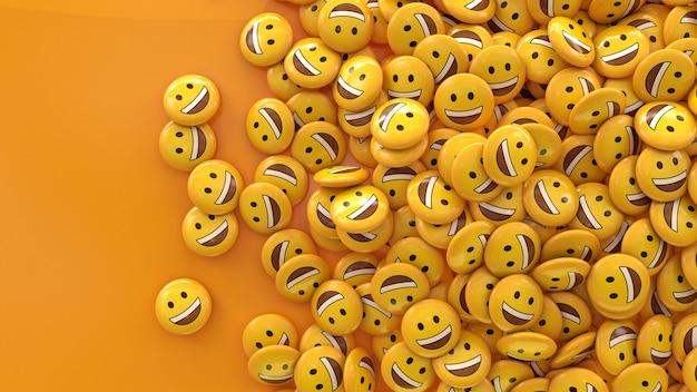 3d-weergave van veel lachende emoji's in glanzende pillen op oranje Premium Foto
