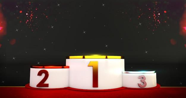 3d-weergave van winnaars podium. goud, zilver en brons podium met confetti. Premium Foto