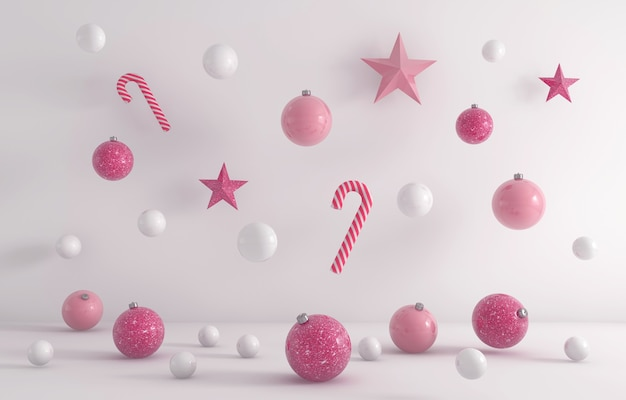 3d-weergave van witte en roze kerst ornamenten opknoping op een witte achtergrond Gratis Foto