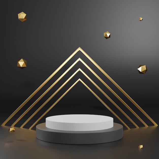 3d-weergave van zwart gouden voetstuk podium op duidelijk achtergrond, abstracte minimale podium lege ruimte voor cosmetische schoonheidsproduct, Premium Foto