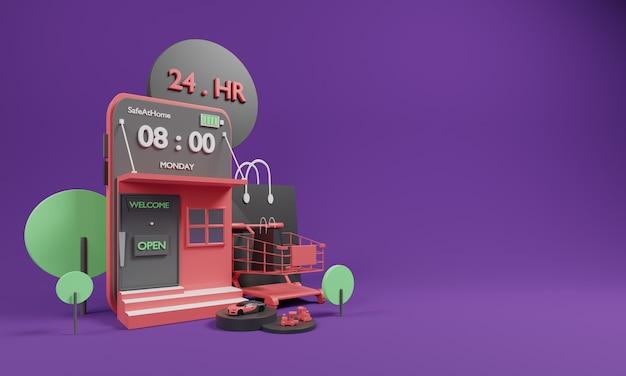 3d-winkelen online concept met winkelen online applicatie en kar. Premium Foto